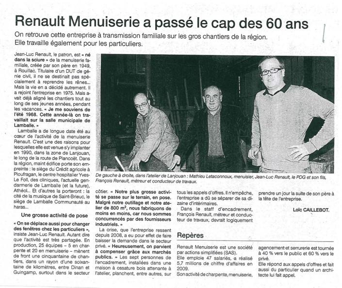 Renault menuiserie a passé le cap des 60 ans, Menuiserie Renault, article, presse