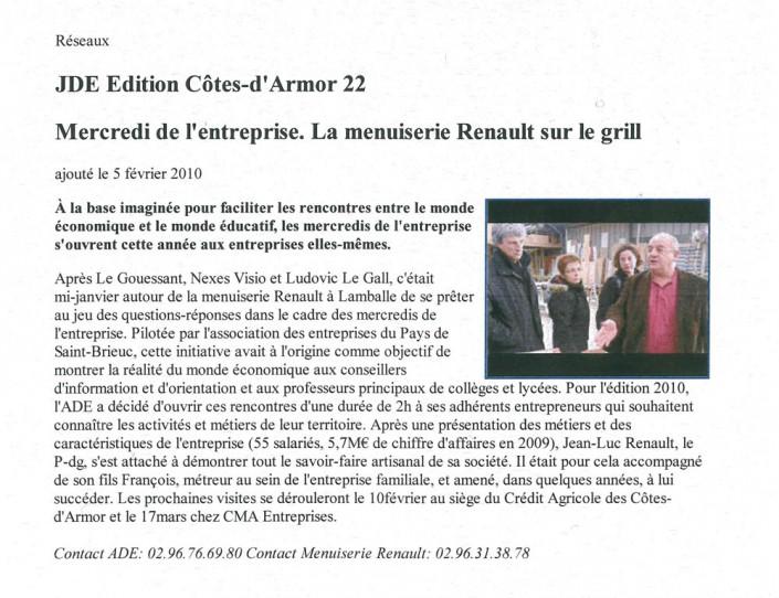 La menuiserie Renault sur le grill, Menuiserie Renault, article, presse