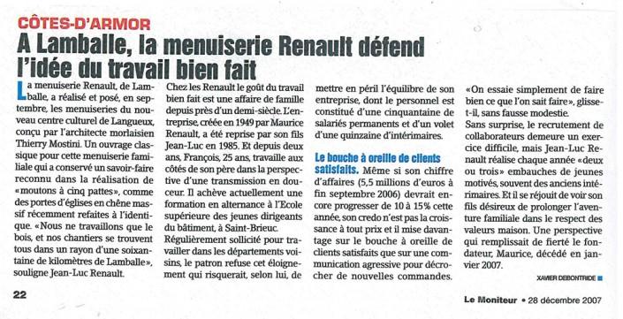 La menuiserie Renault defend l'idée du travail bien fait, Menuiserie Renault, article, presse
