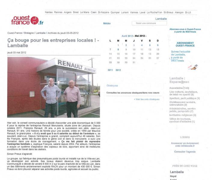 entreprises locales, Menuiserie Renault, article, presse
