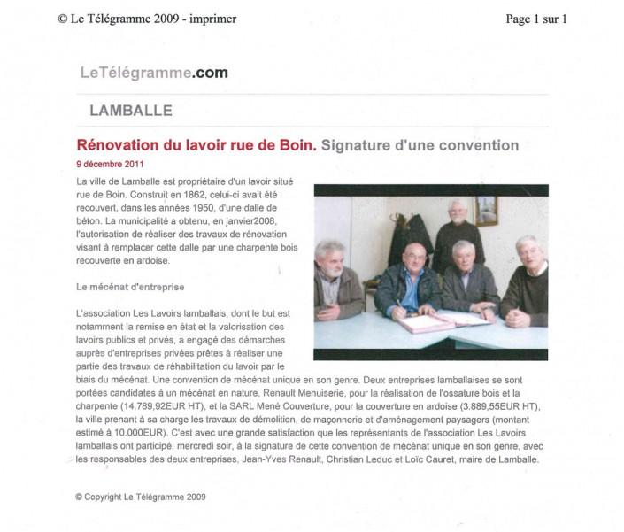 Renovation, lavoir, rue de boin, Menuiserie Renault, article, presse